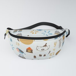 hygge cat and bird gray Fanny Pack