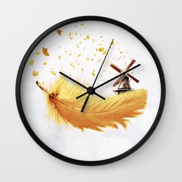 Air Feather • Yellow Feather (horizontal) Wall Clock