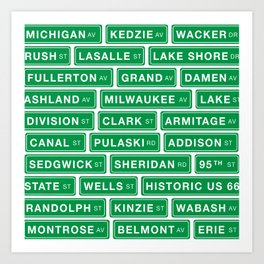 Famous Chicago Streets // Chicago Street Signs Art Print