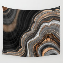 Elegant black marble with gold and copper veins Wall Tapestry