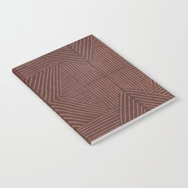 Terracotta clay line work on textured cloth - abstract geometric pattern Notebook