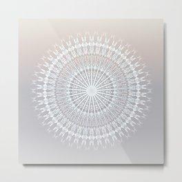 Beige Taupe Gradient Mandala Metal Print