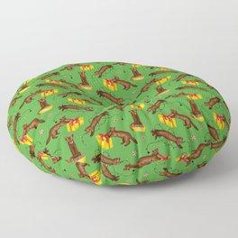 Sables' Christmas Mischief Pattern (Green Background) Floor Pillow