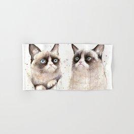 Grumpy Watercolor Cats Hand & Bath Towel