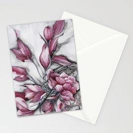 """Dancing"" in red, abstract floral ink watercolor drawing Stationery Cards"