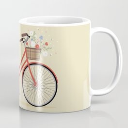 Flower Basket Bicycle Illustration Coffee Mug