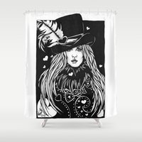 stevie nicks Shower Curtains featuring Blacklights Stevie by Lynette K.