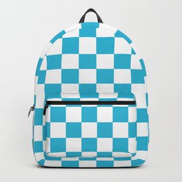 Gingham Vivid Arctic Blue Checked Pattern Backpack