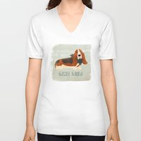 the hound V-neck T-shirts featuring Basset Hound by 52 Dogs