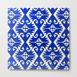 Blue Ikat Pattern Metal Print