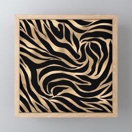 Elegant Metallic Gold Zebra Black Animal Print Framed Mini Art Print