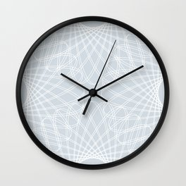 spirograph inspired pattern in white and a pale icy gray Wall Clock