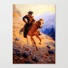 """William Leigh Western Art """"Looking For Strays"""" Canvas Print"""