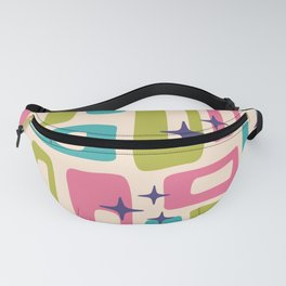 Retro Mid Century Modern Abstract Pattern 927 Pink Chartreuse Turquoise Fanny Pack