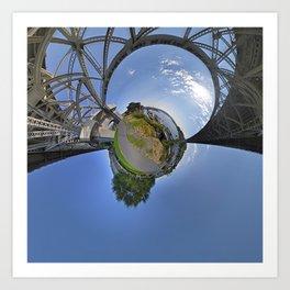 Fremont Bridge Tiny Planet Art Print