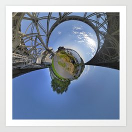 Fremont Bridge Tiny Planet Art Print