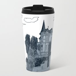 house with a turret and trees Travel Mug