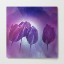 4 purple tulips on watercolor Metal Print