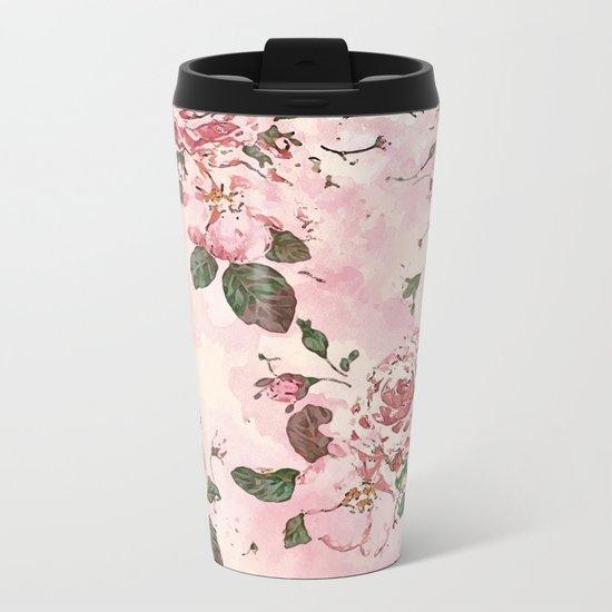 Roses Blossom Metal Travel Mug