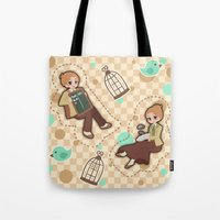 bioshock infinite Tote Bags featuring Bioshock Infinite - Luctece Twins by Choco-Minto