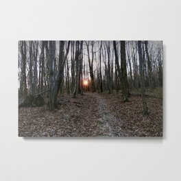 Turn Right at the Setting Winter Sun Metal Print