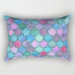 Colorful Teal Glitter Mermaid Scales Rectangular Pillow
