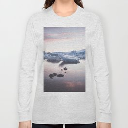Sunset over Glacier Lagoon - Landscape and Nature Photography Long Sleeve T-shirt