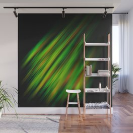Colorful neon green brush strokes on dark gray Wall Mural
