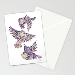 Owls in Flight – Mauve Palette Stationery Cards