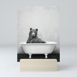 Brown Bear Bathtub Mini Art Print