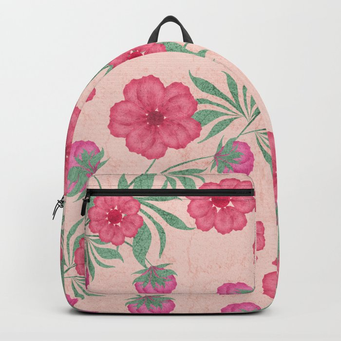 Bright floral pattern .Pink flowers on a beige background . Backpack