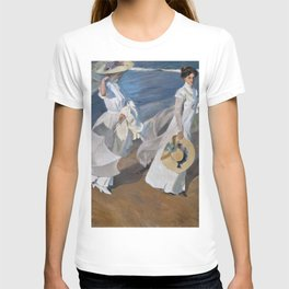 Joaquin Sorolla Y Bastida - Strolling along the seashore T-shirt