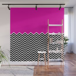 Flat Pink and Classic Chevron Wall Mural