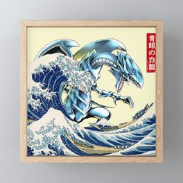 blue eyes white dragon Framed Mini Art Print