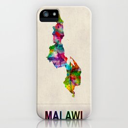 Malawi Map in Watercolor iPhone Case