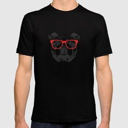 Portrait of English Bulldog with glasses. T-shirt