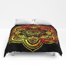 Fiery Sun Mandala Comforters