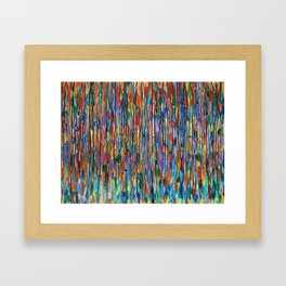 Bright Colorful Abstract Art with Red, Blue, Green, Purple, Yellow, Multicolor Striped Lines Framed Art Print