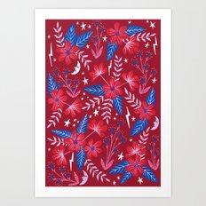 Red Moon Garden Art Print