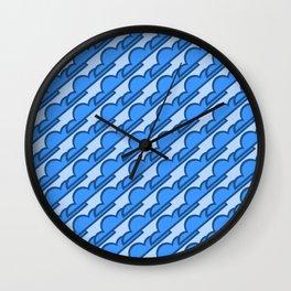 Classic Blue Stylized Clouds Pattern Wall Clock