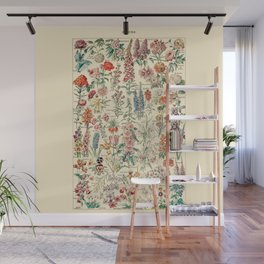 Vintage Floral Drawings // Fleurs by Adolphe Millot 19th Century Science Textbook Artwork Wall Mural