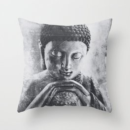 Buddha Grunge Throw Pillow
