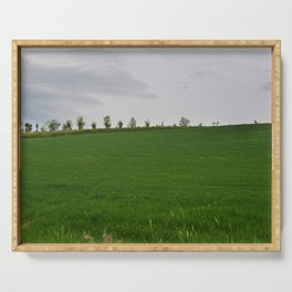 Beautiful spring landscape with hills in Tuscany countryside, Italy Serving Tray