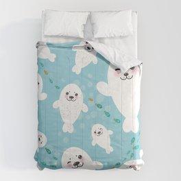 Funny albino white fur seal pups, cute kawaii seals Comforters