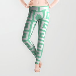 Greek Key (Mint & White Pattern) Leggings