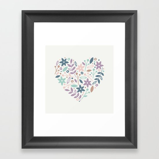 Floral Heart - in Cream Framed Art Print