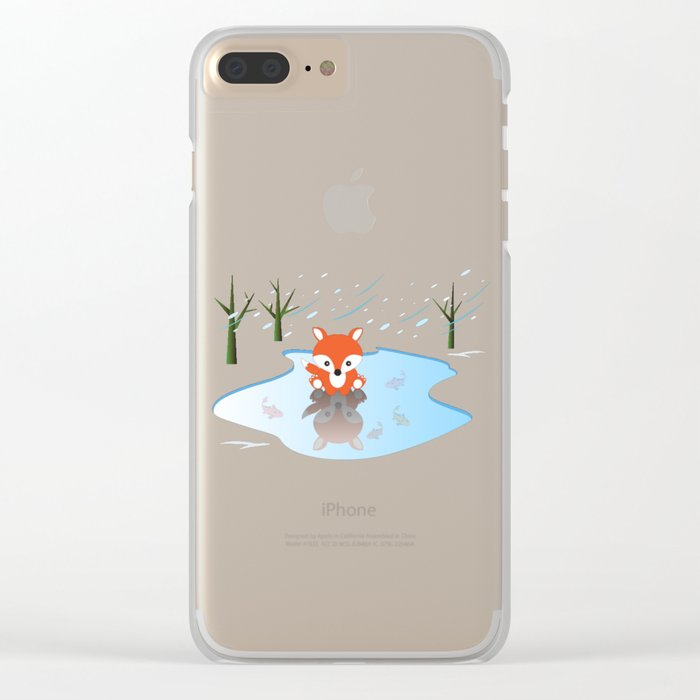Little Fox On Ice Clear iPhone Case
