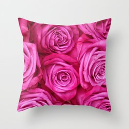 Majestically Romantic Big Red Roses Throw Pillow