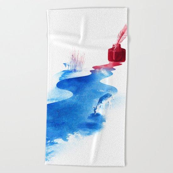 The drama of causality Beach Towel