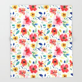 Bright Playful Watercolour Floral Pattern Throw Blanket